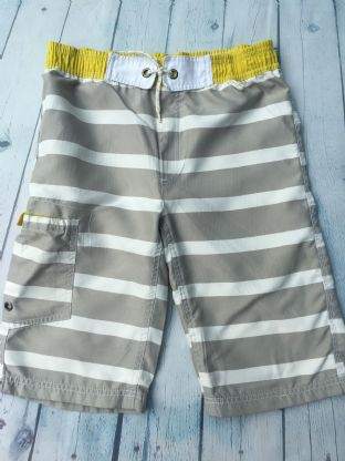 Mini Boden grey and white stripe swim shorts with yellow waist age 9-10